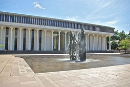 Robertson Hall with James FitzGerald's Fountain of Freedom in the foreground