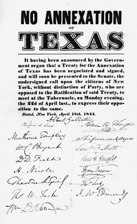 Anti-annexation poster, New York City, April 1844. Albert Gallatin (signature on poster), Thomas Jefferson's Treasury Secretary presided over the event.[51]