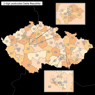 2-digit postcode areas Czech Republic (defined through the first two postcode digits)