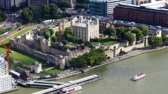 Aerial the Tower of London a historic medieval castle