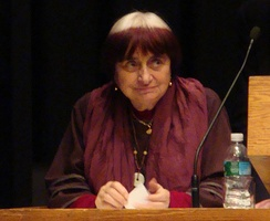 Agnès Varda speaking at a retrospective series at the Harvard Film Archive