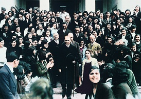 Mustafa Kemal Atatürk, founder and first President of the Turkish Republic, visiting Istanbul University after its reorganization in 1933 as a mixed-gender institution of higher education with multiple faculties.