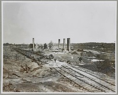 Ruins of Rolling Mill and cars destroyed by rebels on evacuation of Atlanta, Ga.
