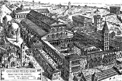 19th-century drawing of Old Saint Peter's Basilica, originally built in 318 by Emperor Constantine