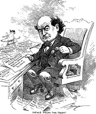 Cartoon of Secretary of State Bryan reading war news in 1914
