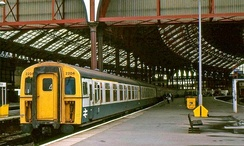 Brighton station with a 4 Cig under the Southern Region of British Rail in 1986.