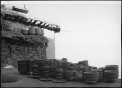 Stacked pottery in Istalif, Afghanistan, a village known for distinctive pottery tradition