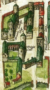 1575 map showing the King's Hall (top left) and Michaelhouse (top right) buildings before Thomas Nevile's reconstruction.