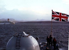 HMS Cardiff anchored outside Port Stanley at the end of hostilities in 1982