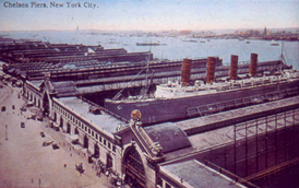 Chelsea Piers, with the Lusitania docked, circa 1910