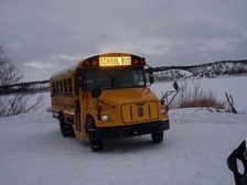 School bus at Crooked Creek, Alaska (Tevyaraq), March 5, 2008