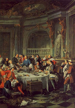 Jean François de Troy's 1735 painting Le Déjeuner d'Huîtres (The Oyster Luncheon) is the first known depiction of Champagne in painting