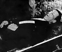 Kaltenbrunner's body after execution by hanging on 16 October 1946