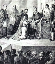 Contemporary engraving depicting the defrocking and degradation of Morelos by church officials before released to civil authorities for execution
