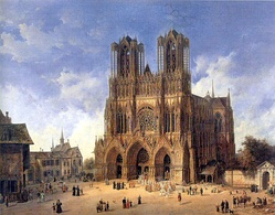 Notre-Dame de Reims, painted c.1800 by Domenico Quaglio the Younger. This is the church where de Grigny worked during the last years of his life.