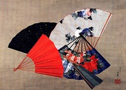 Japanese foldable fan, painted by Hokusai