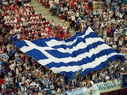 Flag of Greece held by fans