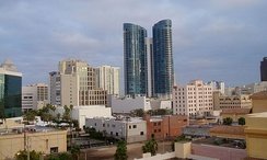 City skyline, featuring Las Olas River House (center), 110 Tower (far right), and Bank of America Plaza (far left)