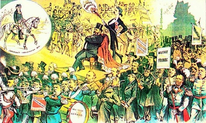 1881 cartoon attacks the imperial splendor of Garfield's inauguration in contrast to Jefferson's republican simplicity (upper left)