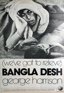 "Advertisement for former Beatle George Harrison's ""Bangla Desh"" single, released in July 1971 to raise international awareness and funds for the millions of Bangladeshi refugees."
