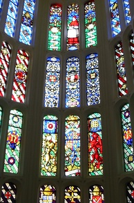 Stained glass windows in the Great Watching Chamber.