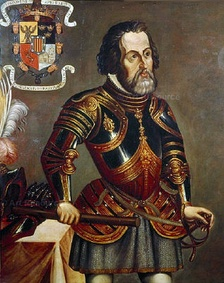 Hernán Cortés in his later years; his coat of arms on the upper left corner. Painting reproduced in the book America (R. Cronau 19th century).
