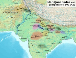 Eastern border of the Achaemenid Empire and ancient kingdoms and cities of India (c. 500 BC).