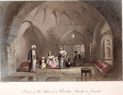 Illustration of Palestinian Christian home in Jerusalem, ca 1850. By W. H. Bartlett