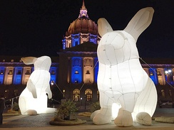 Inflatable Easter bunny in front of San Francisco City Hall