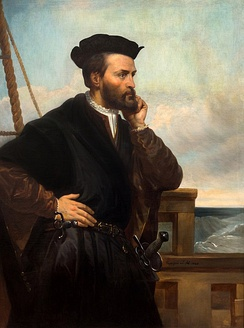 A depiction of Jacques Cartier by Théophile Hamel, 1844. No contemporary likeness of Cartier has been found to exist.[71]