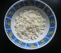Home made curd - varškė. Curd is very popular as an ingredient and part of the desserts.