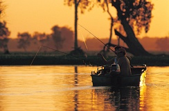 Fishing in the Yellow Water Billabong at Kakadu National Park, which generates large tourism revenue for the Northern Territory.