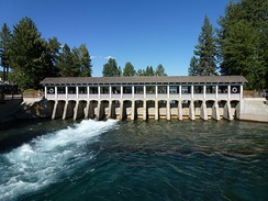 The only outlet of Lake Tahoe and the headwaters of the Truckee River at Lake Tahoe Dam