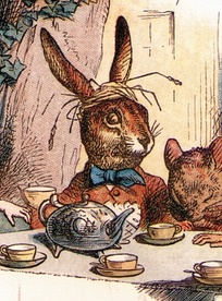 Illustration of the March Hare, one of the Hatter's tea party friends, by Sir John Tenniel.