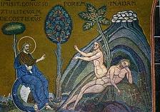 Сотворение Евы из ребра Адама— мозаика верхнего ряда западной стены