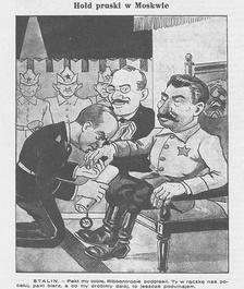 «Прусский вассалитет Москве». Карикатура из польской газеты «Муха», 8 сентября 1939. Подпись: «Пакт мы тебе, Риббентроп, подписали. Ты ручку нам поцелуй, пакт возьми, а что мы будем дальше делать— это мы ещё подумаем»