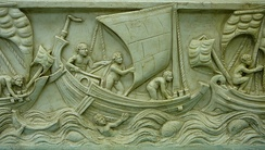 The earliest fore-and-aft rigs, spritsails, appeared in the 2nd century BC in the Aegean Sea on small Greek craft.[117] Here a spritsail used on a Roman merchant ship (3rd century AD).
