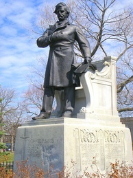 Statue of Banks by Henry Hudson Kitson in Waltham, Massachusetts
