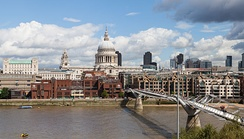 The Millennium Bridge, looking north towards St Paul's Cathedral and the City.