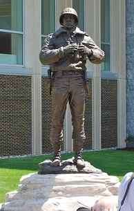 A statue of Patton at the US Military Academy at West Point