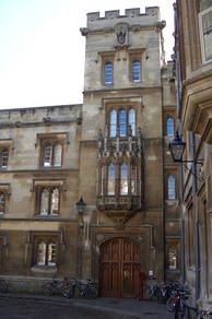 The entrance to Pembroke College in Pembroke Square. Samuel Johnson had rooms on the second floor above the entrance, as an undergraduate in 1728.