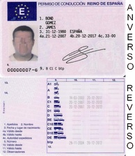 Driver's license from Spain. Spanish driving licenses use a point system