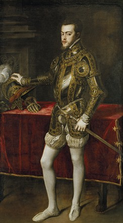 Titian portrait of Philip as prince (1554), aged about twenty-four dressed in a lavishly decorated set of armour.