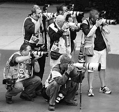 Sports photojournalists at Indianapolis Motor Speedway