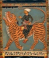Scroll painting of a Ghazi riding a Bengal tiger