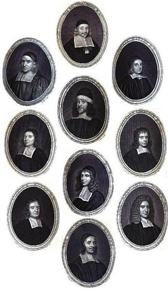 Gallery of famous 17th-century Puritan theologians: Thomas Gouge, William Bridge, Thomas Manton, John Flavel, Richard Sibbes, Stephen Charnock, William Bates, John Owen, John Howe and Richard Baxter