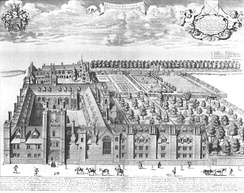 Bird's eye view of Queens' College, Cambridge by David Loggan, published in 1690.