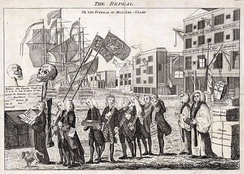 "This cartoon depicts the repeal of the Stamp Act as a funeral, with Grenville carrying a child's coffin marked ""born 1765, died 1766"""