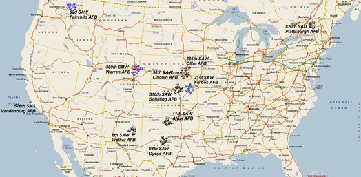 SM-65 Atlas deployment sites:  SM-65D (Red), SM-65E (Purple), SM-65F (Black)