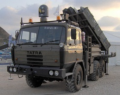SPYDER anti-aircraft missile system developed by the Israeli company Rafael, fitted atop a TATRA truck